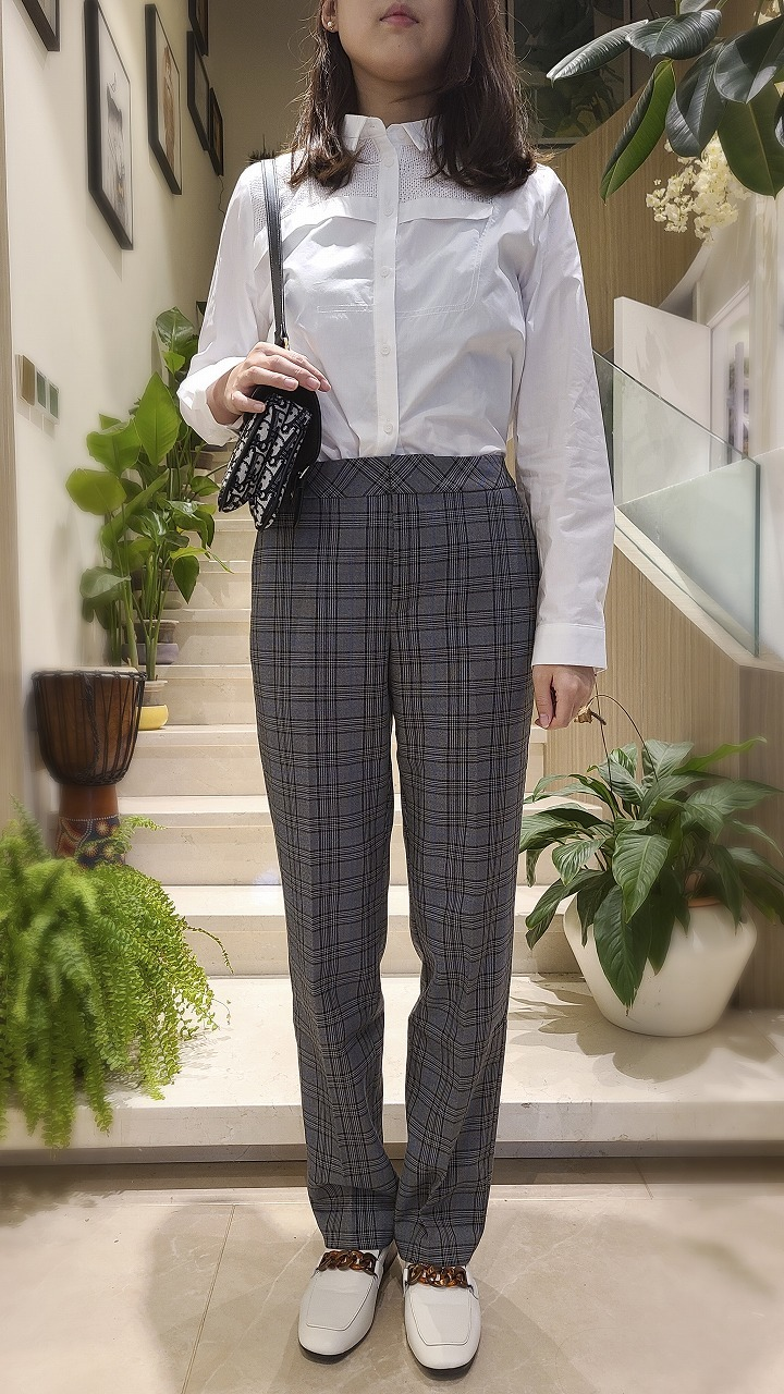 LADIES STRAIGHT PLAID PATTERN PANT