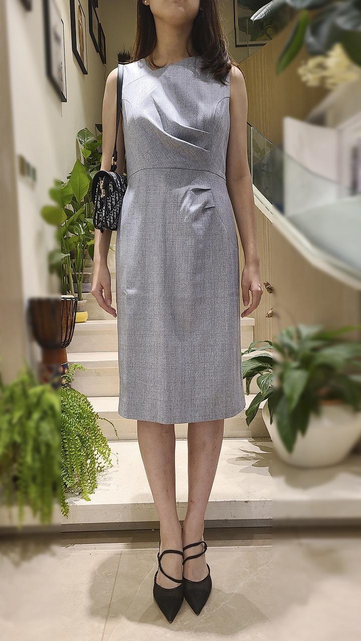 LADIES ASYMM NECKLINE JERSEY DRESS