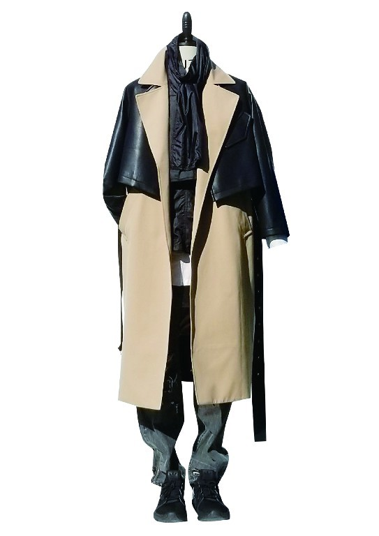 Men's long coat constract black PU