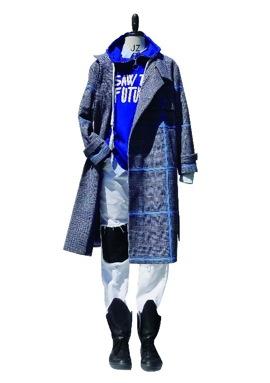 High Neck Wool Coat With Blue Tape