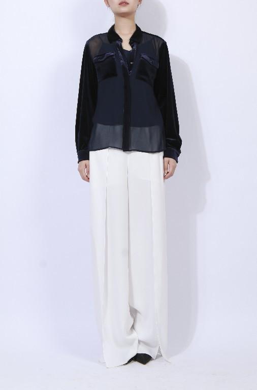 Lady's velvet blouse contrast chiffon