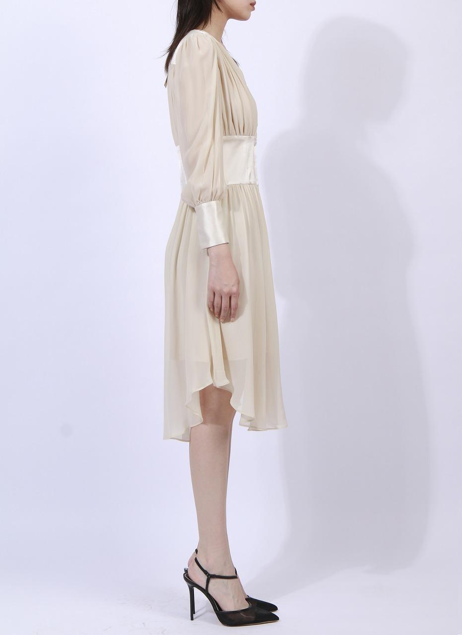 V-neck wide waistband dress