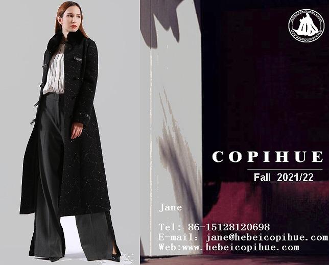 A ladies' long coat with woollen texture fabrics.