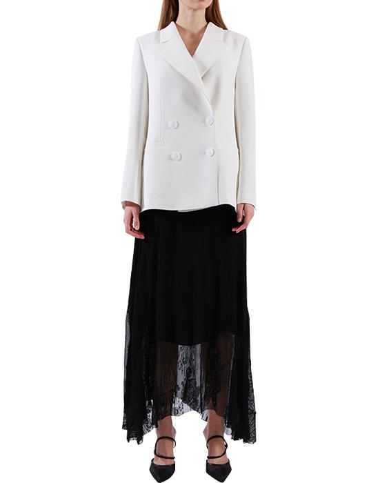 Good quality Ladies White Jacket Notch collar 4 button Long Blazer Wholesale