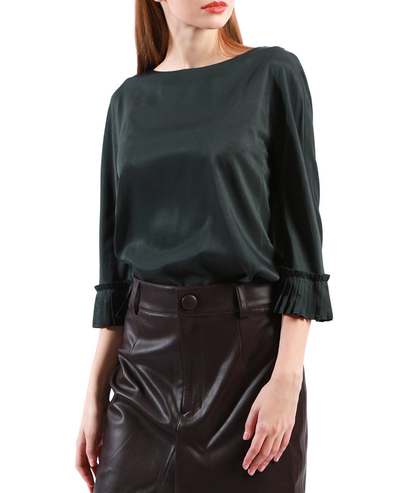 Pleated Cuff Blouse Formal Tops  Fashion Blouse for Women
