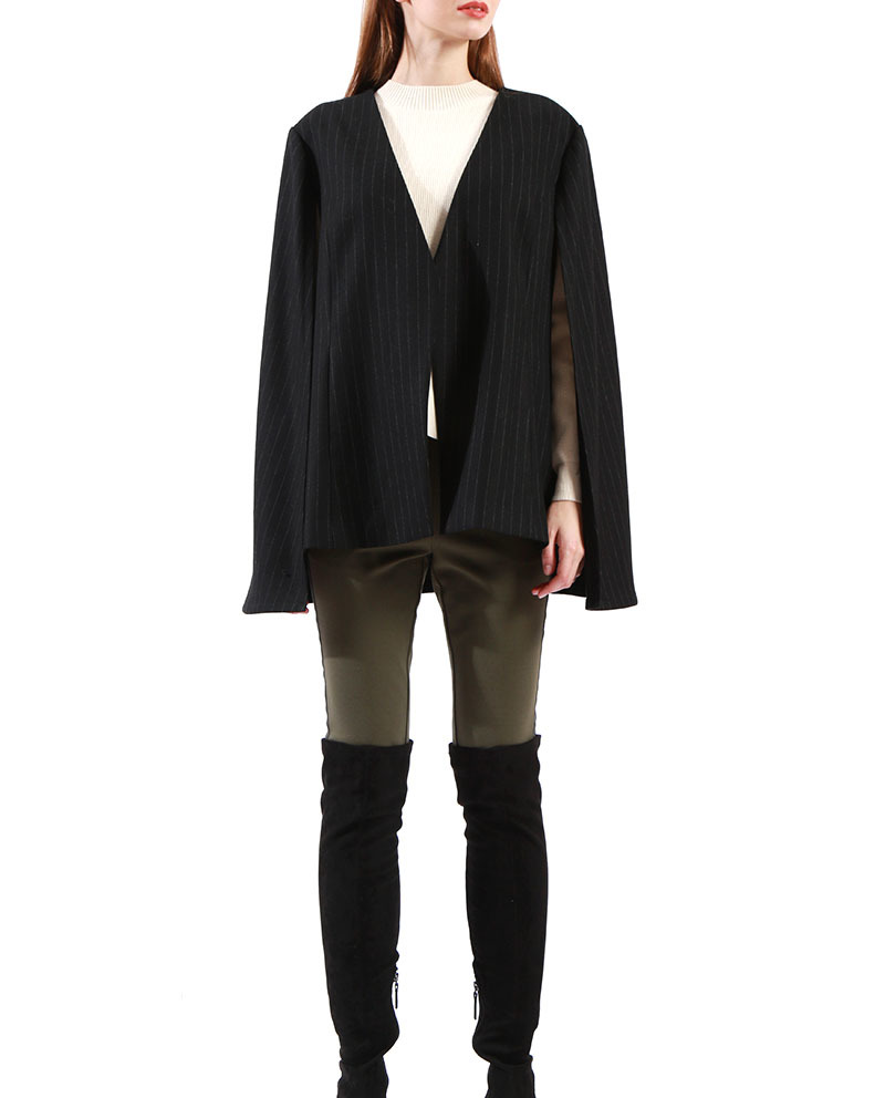 Ladies Soft Structured Black Cape Jacket Wool Poncho