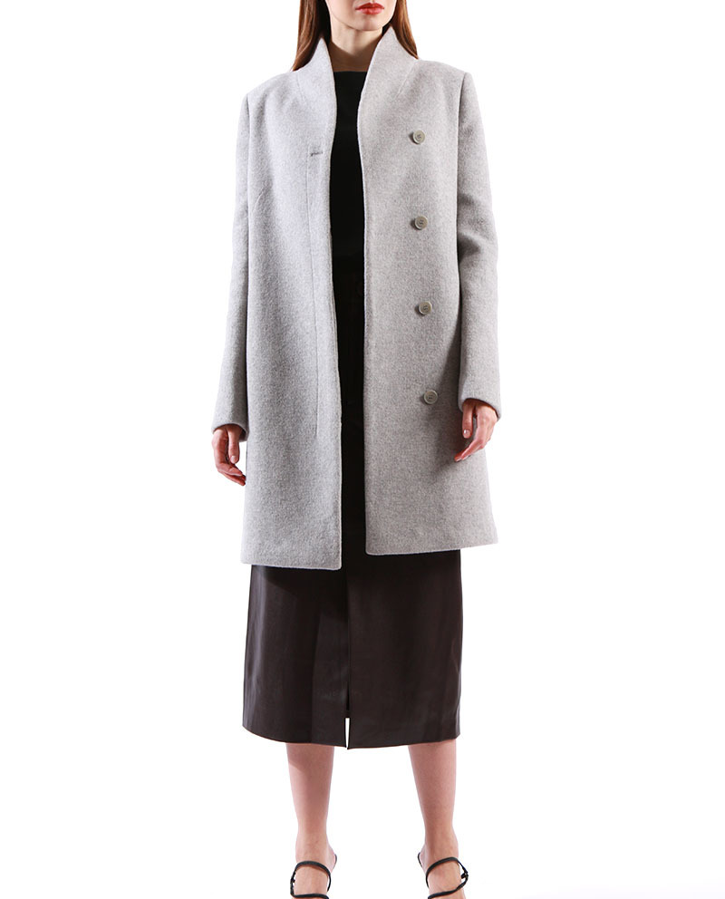 Womens Stand Collar Wool Winter Blend Coat   Wholesale