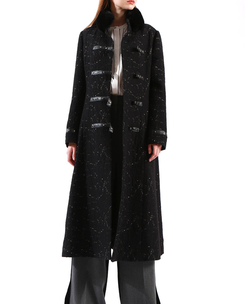 Ladies Black Winter Coat Faux Fur Collar Leather Buckles Jacquard Duffle Coat