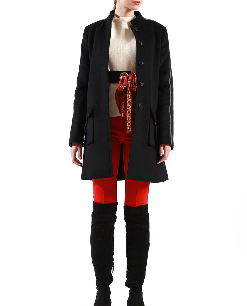 Ladies Black Winter Coat Stand Collar Double sides Long Wool Blend Coat