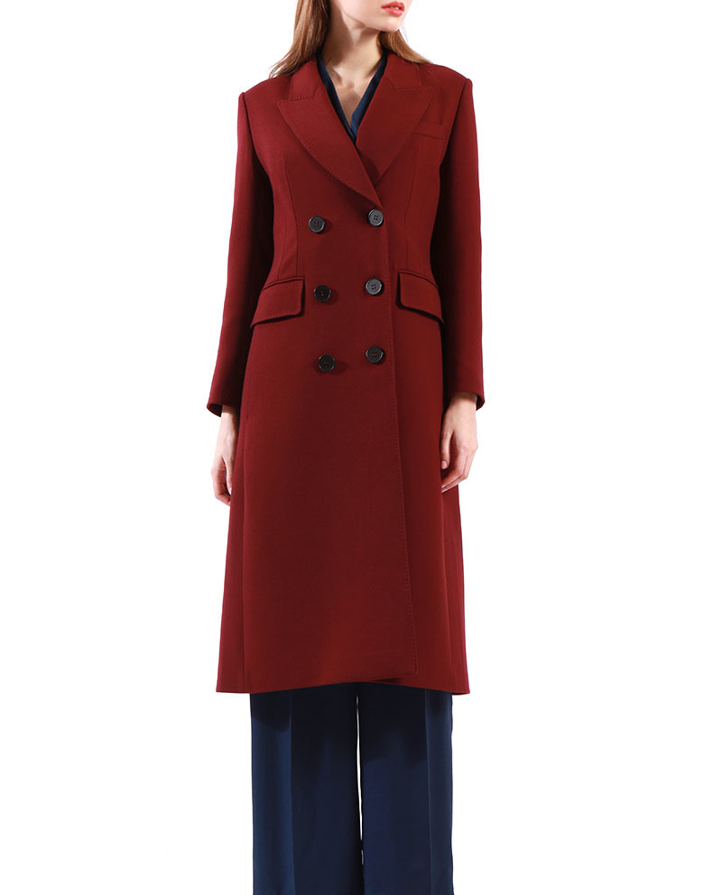 Womens Red Coat Wool Blend Long Length Winter Coat UK