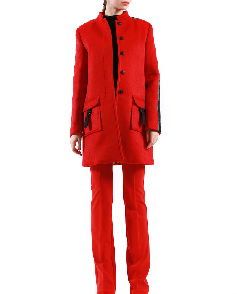 Womens Wool Winter Coat Stand Collar Double sides Red Blend Coat