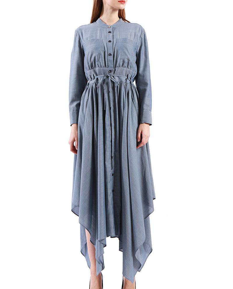 Ladies Day Dress Irregular Hem Belted Single Breasted Designer Dresses online