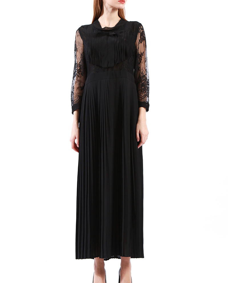 Lace Dresses for Women Modest Formal  Pleated Dress Wholesale