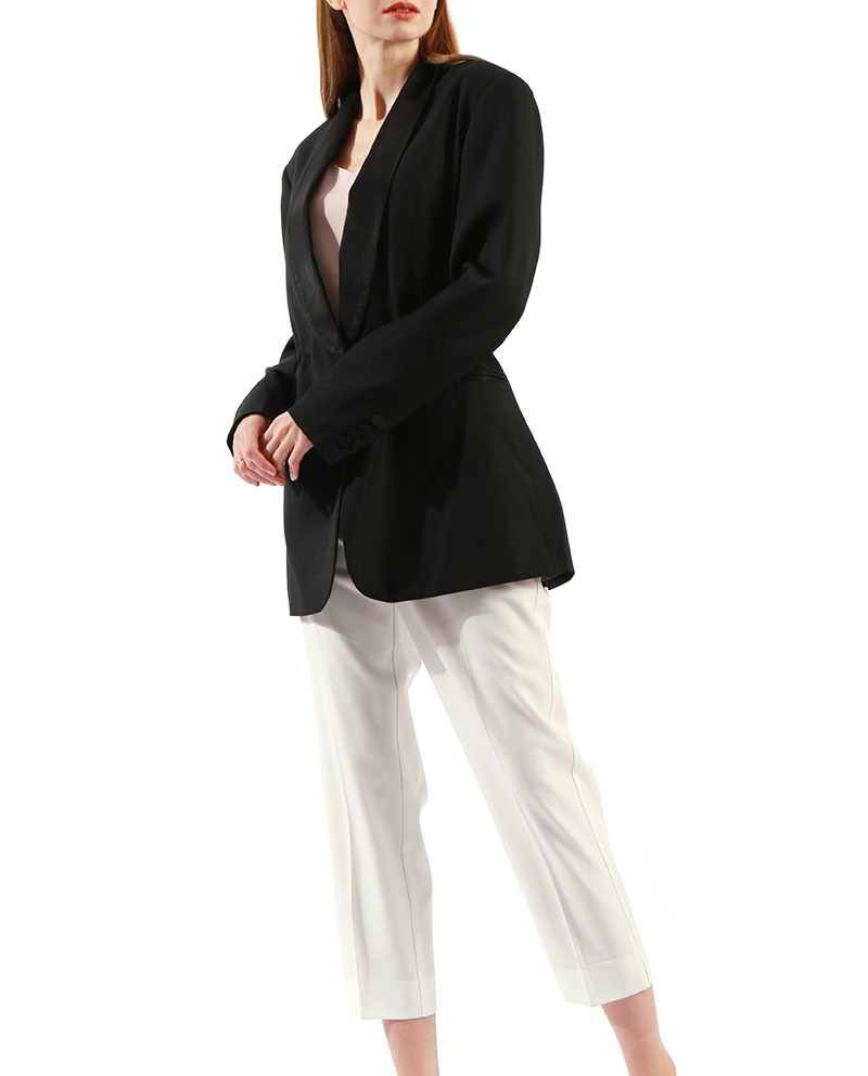 Ladies Black Blazer Shawl Collar Women Longline Blazer Wholesale