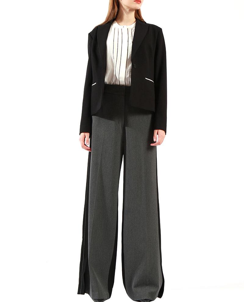 Ladies Black And White Jacket One Button Front Pocket Lapel Short Blazer