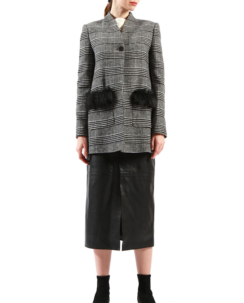 High Quality Ladies Long Blazer Fur Pocket Grey Jacket for Sale