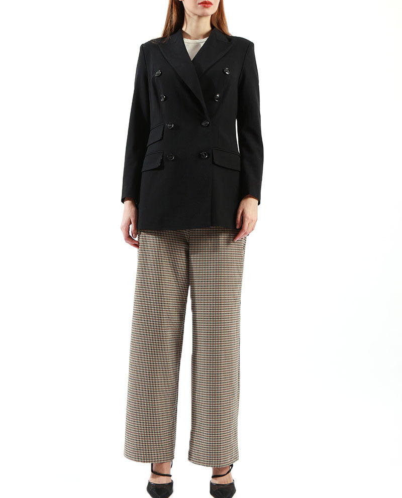 Ladies Long Trousers Plaid Designer Fashion Trousers  Wholesale