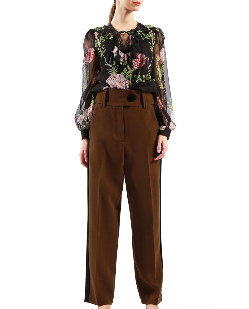 Ladies Designer Trouser Contrast Side Stripe Women Plus Size Trousers